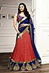 Bollywood Daisy Shah Faux Georgette and Velvet Lehenga Choli In Blue and Red Colour 2365