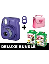Fujifilm Instax Mini 8 - Purple + 40 Pack Instax Film + Butterfly Pink Gm Bag + Purple Selfie Mirror