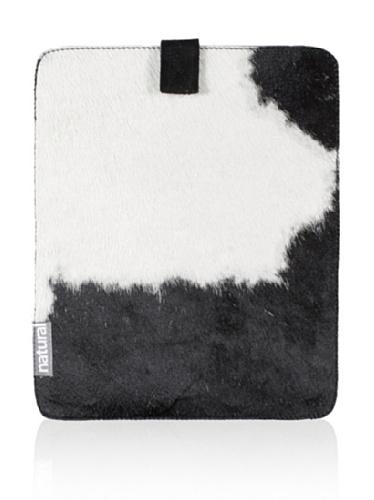 Natural iPad Cowhide Case (Black & White)