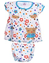Henry kids Baby-Girls' 4-8 Months Cotton Frock with Diaper Cover (M233_4-8 Months_DBLUE, Blue, 4-8 Months)