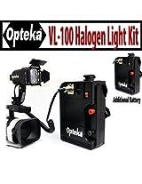 Opteka VL-100 100-Watt Professional Halogen Camcorder Video Light Kit with 12v Rechargeable Battery Pack for Canon GL2, GL1, XL2, H1S, H1A, XF305, XF300, G1S and A1S - Extra 12v Rechargeable Battery Pack Included!