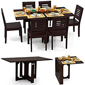 Danton-Capra 6 Seat Folding Dining Table Set (Mahogany Finish)