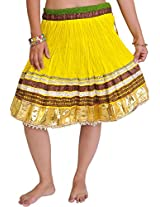 Exotic India Mini-Skirt Ghagra from Jaipur with Gota Border - Color Vibrant YellowGarment Size Free Size