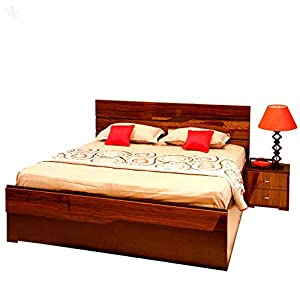 Evok Bed Queen Storage with Honey Brown Finish - Cosmo