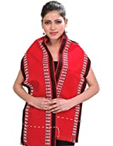 Exotic India Scarf from Nagaland with Thread Weave on Border - Color True RedColor Free Size