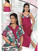 Indiatrendzs Womens Silk Satin 2pc set Nighty Dark Pink Floral Print Sexy Nightwear wear freesize