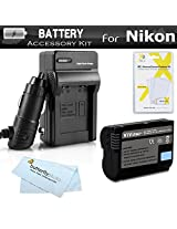 Battery And Charger Kit For Nikon D7100 D7000 D600 D800 D800E D600 D610 DSLR and Nikon 1 V1 Digital Camera Includes Extended Replacement (2200Mah) EN-EL15 Battery (FULLY DECODED!!) + Ac/Dc Rapid Charger + More. (Battery Shows time on LCD!!)