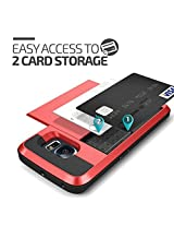 Samsung Galaxy S6 Edge Plus Case, Ziaon Card Slot Drop Protection Heavy Duty Wallet Case For Samsung Galaxy S6 Edge Plus - Red