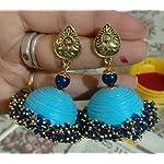 Blue Paper Traditional Jhumki Earring