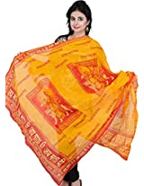Exotic India Jai Mata Di Prayer Shawl - Saffron