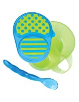 Sassy First Solids Feeding Bowl W/ Spoon Green & Blue By Sassy