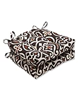 Pillow Perfect New Damask Terrain Reversible Chair Pad, Set of 2
