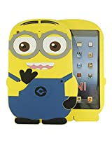 Heartly Cute Cartoon Minion Soft Rubber Silicone Flip Bumper Best Back Case Cover For Apple iPad Mini 1 1st Generation Tablet Double Eye