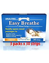 Easy Breathe Natural Nasal Strips - Large Size (90 Strips) ** Drug Free** 3 Packs of 30 strips