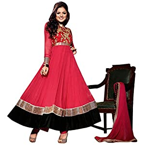Fabfiza Embroidered Madhubala Anarkali Suit - Red
