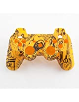 Yellow Kooky Skulls Hydro Dipped Custom Controller Shell For Ps3
