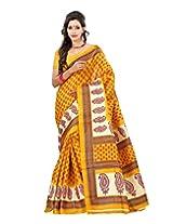 Lookslady Printed Yellow & Maroon Bhagalpuri Silk Saree
