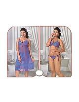 Indiatrendzs Women's Sexy Hot Nighty Purple 3pc Set Baby Doll Eveningwear Freesize