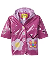 Kidorable Little Girls' Butterfly Polyurethane Raincoat, Purple, 1T