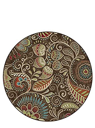Universal Rugs Capri Transitional Area Rug, Brown, 6' Round