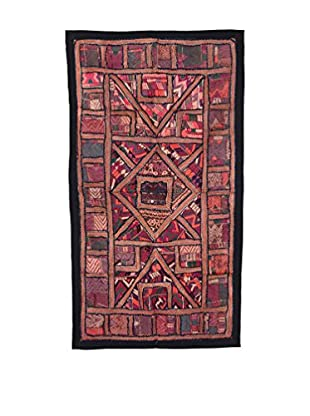 Uptown Down One-of-a-Kind Patchwork Wall Hanging/Textile Panel, Multi Red