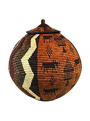 Asian Loft Zulu Ukhamba Wicker Basket, Brown/Black/White