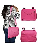 DMG Padwa Lifestyle Shockproof Soft Sleeve Pouch Carrying Envelope Bag canvas Case with Handle and Shoulder Strap for Swipe Ultimate Tablet (Magenta)