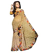 Shree Saree Women's Georgette border Saree With Blouse Piece (2010_Multi-Coloured)