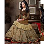 Brown and Beige Anarkali style Suit