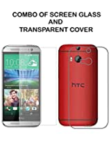 Value Combo Of HD Quality Tempered Glass and Soft Transparent Clear Back Case Cover For HTC One M8