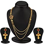 Sukkhi Marvellous Gold Plated Three String AD Necklace Set [Jewellery]