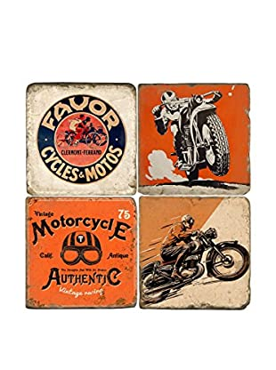 Studio Vertu Set of 4 Motorcycles Tumbled Marble Coasters with Stand