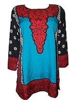Odishabazaar Women Crepe A-Line Kurta (Fmk-245 _Blue _Small)