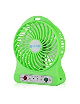 ApeCases Branded 3 Speeds Portable mini Fan 18650 Rechargeable Battery or Electric-Powered with LED Light Table Fan Via USB Port to Laptop Computer External Battery packs and to Adapter for Wall charger Cooling Fan for Home and Office Indoor and Outdoor Activities As Camping Hiking Cycling Backpacking Climbing Boating Travel Picnic (Green)