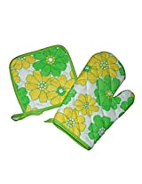 Okayji Cotton Heat Proof Microwave Oven Gloves & Heating Pad Combo (Randmom Colour and Design)