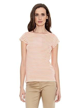 Cortefiel Camiseta Rayas Finas Manga Corta (Naranja)