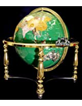 Unique Art 21-Inch Tall Malachite Green Ocean Table Top Gemstone World Globe with 4 Leg Silver Stand Separated State Stones