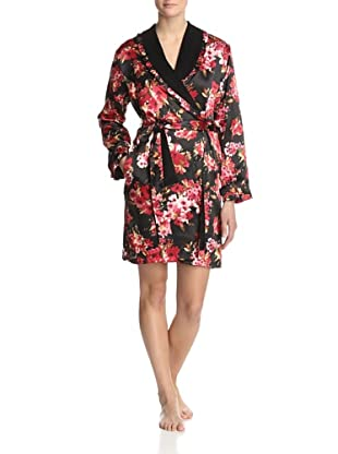Oscar de la Renta Pink Women's Holiday Bouquet Short Robe (Black Print)