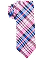 Scott Allan Men's 100% Silk A New Day Plaid Necktie - Pink/Blue