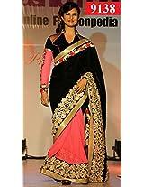 Amazing Black & Pink Georgette Designer Saree
