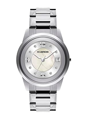 K&BROS 9182-2 / Reloj de Señora con brazalete metálico blanco