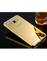 Kapa Luxury Mirror Effect Acrylic back + Metal Bumper Case Cover for Samsung Galaxy A7 - Gold