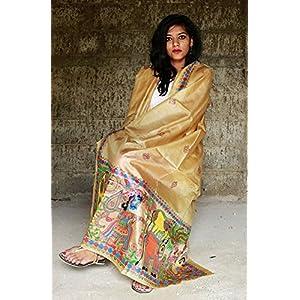 Chanchal Hand Painted Madhubani Light brown Paper Silk Dupatta
