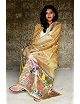 Chanchal Hand Painted Madhubani Light brown Paper Silk Dupatta
