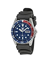 Seiko 5 Sports Automatic Blue Dial Red Bezel Black Strap Men'S Watch - Se-Snzf15J2