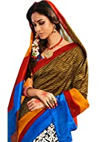 Brijraj Multi Bhagalpuri Silk Beautiful Printed Saree With Unstitch Blouse