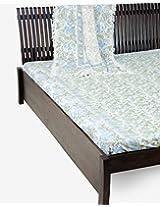 "Cotton Printed Rosalie Bed Cover-94""X 104""-Aqua"
