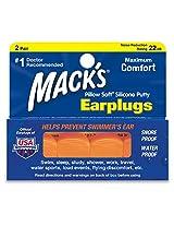 Mack's Silicone Earplugs - Orange - 2 pair