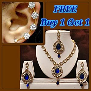 Buy 1 Get 1 Free Dark Blue Kundan Necklace Set