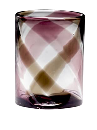 Dynasty Glass Viola Collection Medium Vase, Purple Plaid